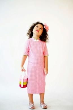 Girls Cheongsam Qipao New Shanghai Pink Hound-tooth online sale
