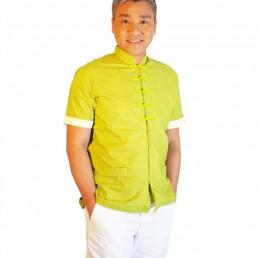 Men Mandarin collar Shirt Kungfu Green
