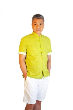 Men Mandarin collar Shirt Kungfu Green