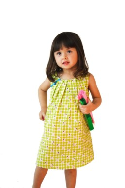 Little Qipao Toddlers Dress Sheep Print Green